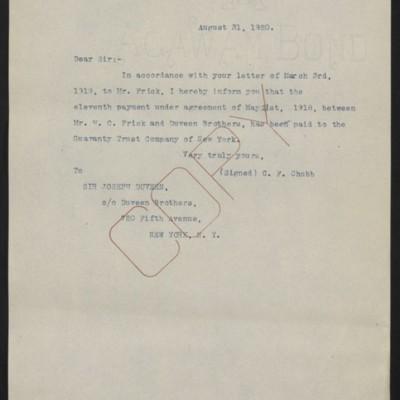Letter fromC.F. Chubbto Joseph Duveen, 31 August 1920