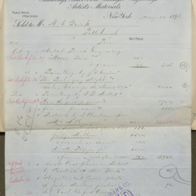 M. Knoedler & Co. Invoice, 10 January 1896
