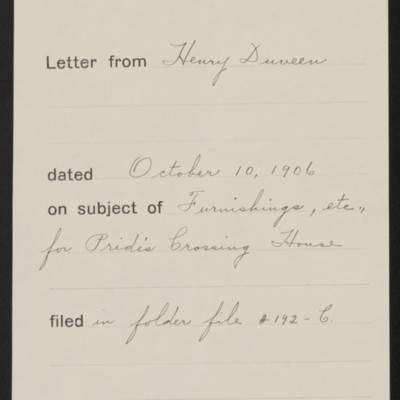 Memorandum, Office of Henry Clay Frick, 10 October 1906