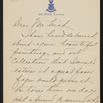Letter from Mabelle Corey to [H.C.] Frick, circa January 1918 [page 1 of 2]