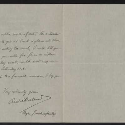 Letter from André Rostand to [Henry Clay Frick], 16 December 1918 [page 2 of 2]