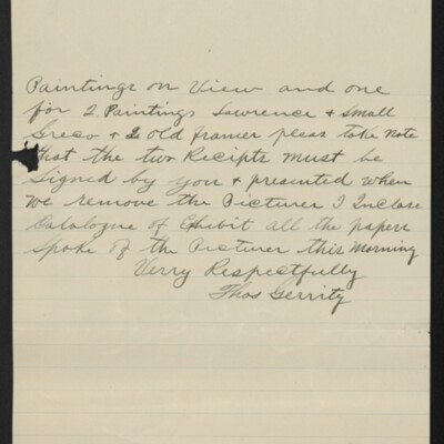 Letter from Thos. Gerrity to H.C. Frick, 1 December 1910 [page 2 of 2]