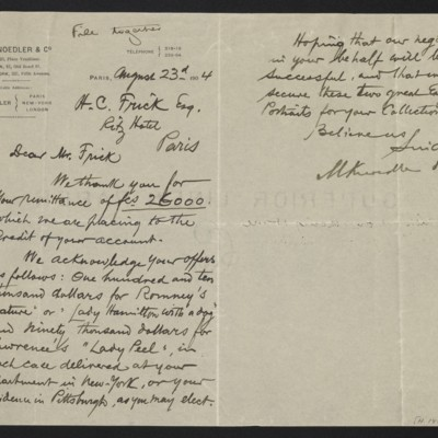 Letter from M. Knoedler & Co. to Henry Clay Frick, 23 August 1904