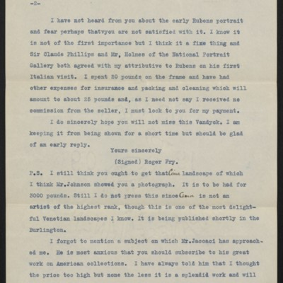 Copy of a letter from Roger Fry to H.C. Frick, 10 July 1911 [page 2 of 3]