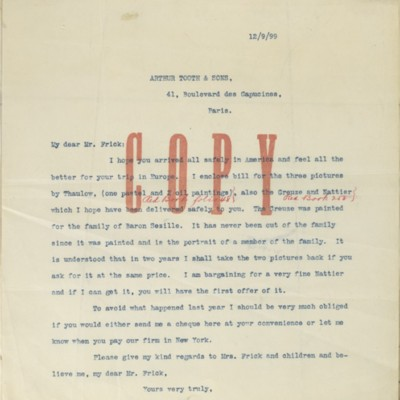 Transcription of a letter from Edmond Simon to Henry Clay Frick, 12 September 1899