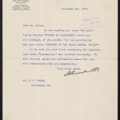 Letter from M. Knoedler & Co. to Henry Clay Frick, 1 November 1900