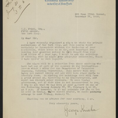 Letter from George Kriehn to H.C. Frick, 27 December 1918