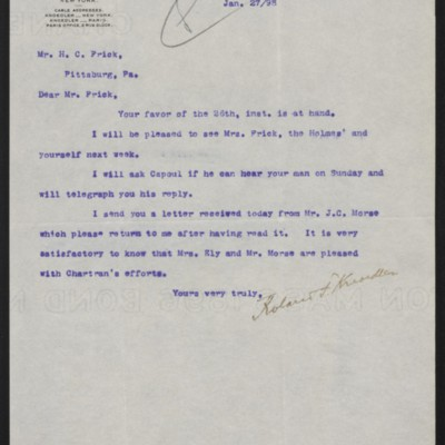 Letter from Roland F. Knoedler to Henry Clay Frick, 27 January 1898