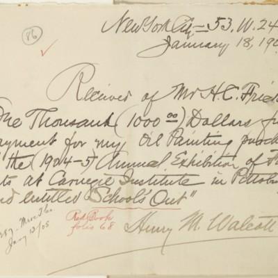 Receipt from Henry Mills Walcott, 18 January 1905