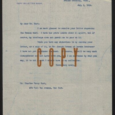 Copy of a letter from [Henry Clay Frick] to Charles Henry Hart, 1 July 1916