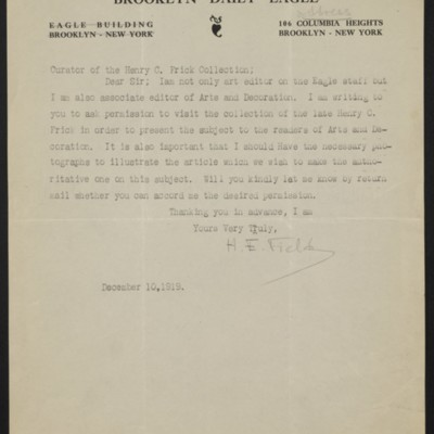 Letter from H.E. Field to the Curator of the Henry C. Frick Collection, 10 December 1919
