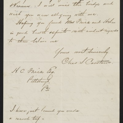 Letter from Charles S. Carstairs to Henry Clay Frick, 30 August 1904 [page 2 of 2]