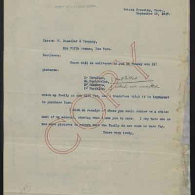 Letter from [H.C. Frick] to M. Knoedler & Co., 29 September 1917