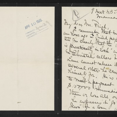Letter from Alice B. Creelman to [H.C.] Frick, [7] April 1915 [page 1 of 2]