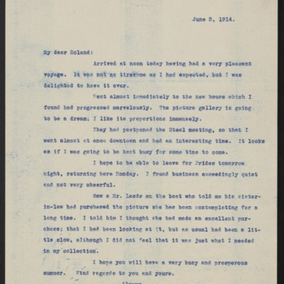 Letter from Henry Clay Frick to Roland F. Knoedler, 3 June 1914