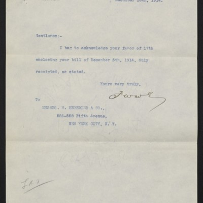 Letter from F.W. McElroy to M. Knoedler & Co., 18 December 1914