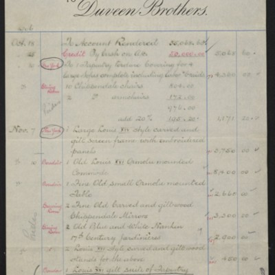 Account Statement from Duveen Brothers, 7 February 1907