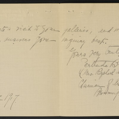 Letter from Gertrude B. Weed to H.C. Frick, 8 March 1917 [page 2 of 2]