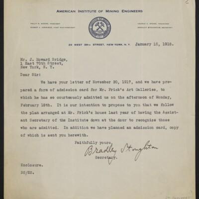 Letter from Bradley Stoughton to J. Howard Bridge, 16 January 1918