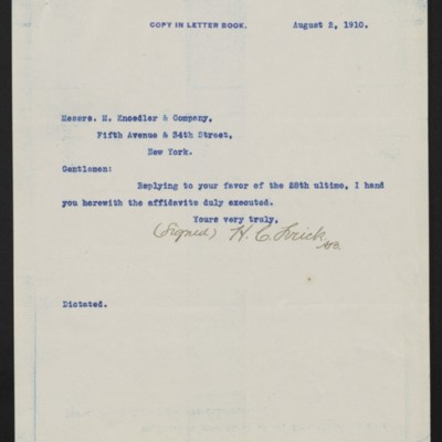 Letter from Henry Clay Frick to M. Knoedler & Co., 2 August 1910