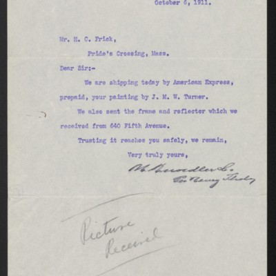 Letter from M. Knoedler & Co. to Henry Clay Frick, 6 October 1911