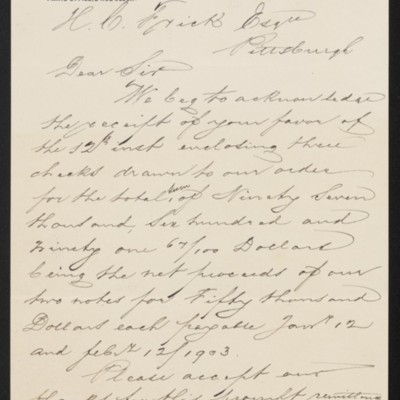 Letter from M. Knoedler & Co. to Henry Clay Frick, 15 September 1902