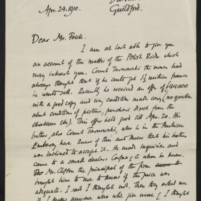 Letter from Roger E. Fry to [Henry Clay] Frick, 24 April 1910