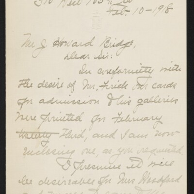 Letter from Jane Fitz Turner to J. Howard Bridge, 10 February 1918 [page 1 of 4]