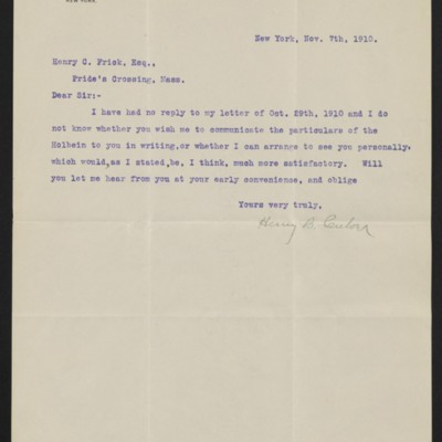 Letter from Henry C. Culver to Henry Clay Frick, 7 November 1910