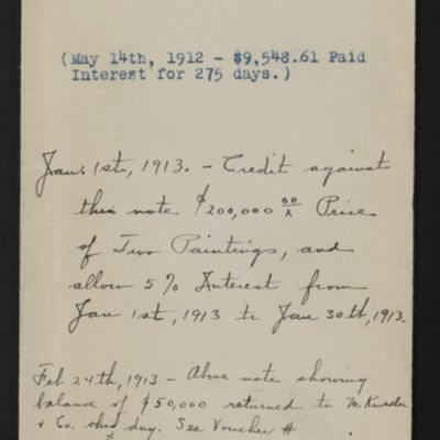 Envelope for $250,000 note of M. Knoedler & Co. due 30 January 1913
