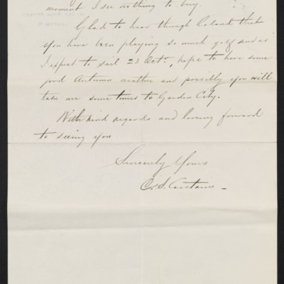 Letter from Charles Carstairs to [Henry Clay] Frick, 7 September 1909 [page 2 of 2]