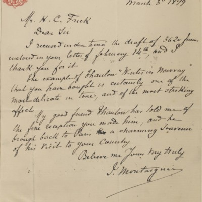 Letter from I. Montaigne to Henry Clay Frick, 30 March 1899