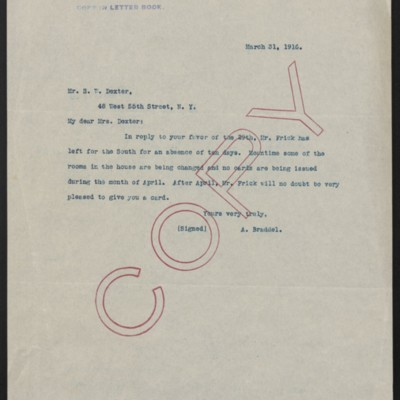 Letter from A. Braddel to Mrs. S.W. Dexter, 31 March 1916