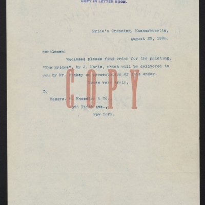 Letter from [Henry Clay Frick] to M. Knoedler & Co., 20 August 1908