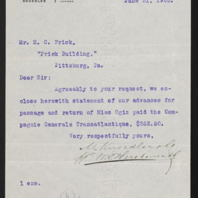 Letter from M. Knoedler & Co. to Henry Clay Frick, 31 [sic] June  1903