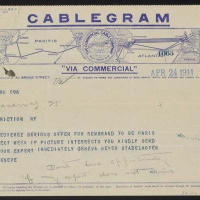 Cable from [Marika Ogiz] to [Henry Clay Frick], 24 April 1911