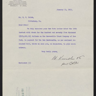 Letter from M. Knoedler & Co. to H.C. Frick, 11 January 1911