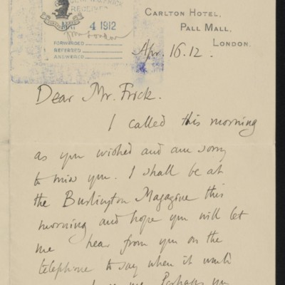 Letter from Roger E. Fry to Henry Clay Frick, 16 April 1912