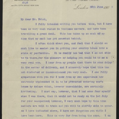 Letter fromH.J. Duveento Henry Clay Frick, 30 June 1906
