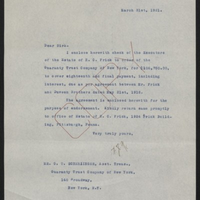 Letter from W.J. Naughton to G.T. Scherzinger, 31 March 1921