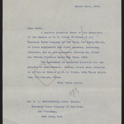 Letter fromW.J. Naughtonto G.T. Scherzinger, 31 March 1921