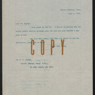 Letter from [H.C. Frick] to Paul M. Ripley, 8 July 1916
