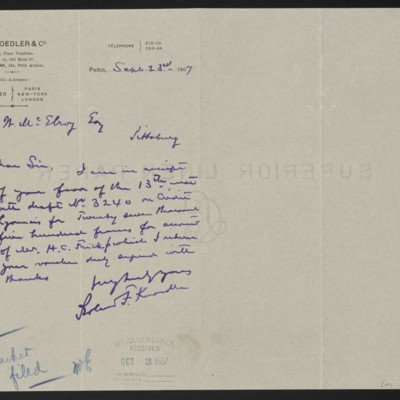 Letter from Roland F. Knoedler to Henry Clay Frick, 23 September 1907