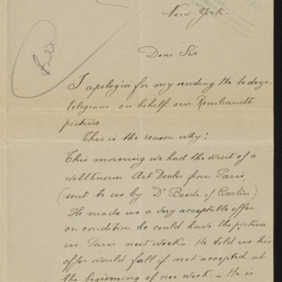 Letter from M. Meyer De Stadelhofen to H.C. Frick, 24 April 1911