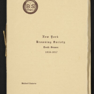 Directory of the New York Browning Society, Tenth Season, 1916-1917 [page 1 of 23]