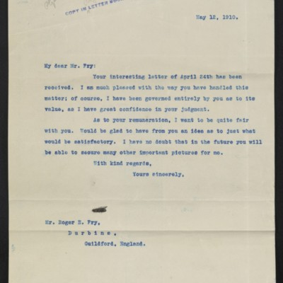 Letter from [Henry Clay Frick] to Roger E. Fry, 12 May 1910