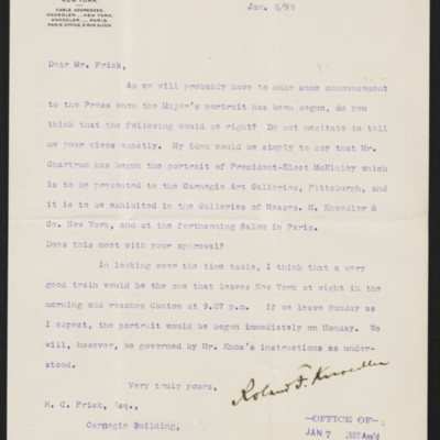 Letter from Roland F. Knoedler to Henry Clay Frick, 6 January [1897]