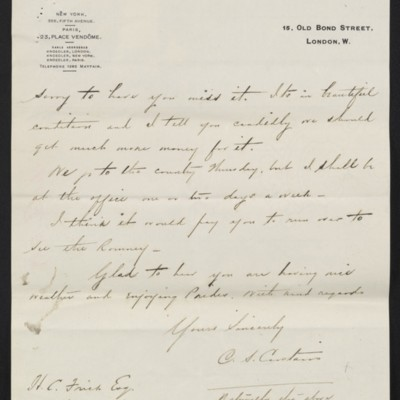 Letter from Charles C. Carstairs to Henry Clay Frick, 21 July 1908 [page 3 of 4]