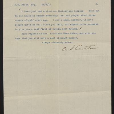 Letter from Charles S. Carstairs to Henry Clay Frick, 29 May 1912 [page 3 of 3]