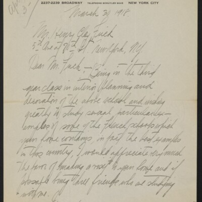 Letter from Joseph Earl to Henry Clay Frick, 30 March 1918